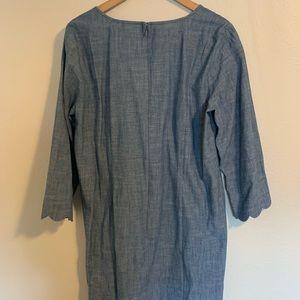 J. Crew Dresses - NWT J Crew Scalloped Sleeves Chambray Dress